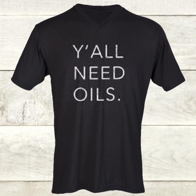 Elevate Black V Neck Y'all Need Oils Tee